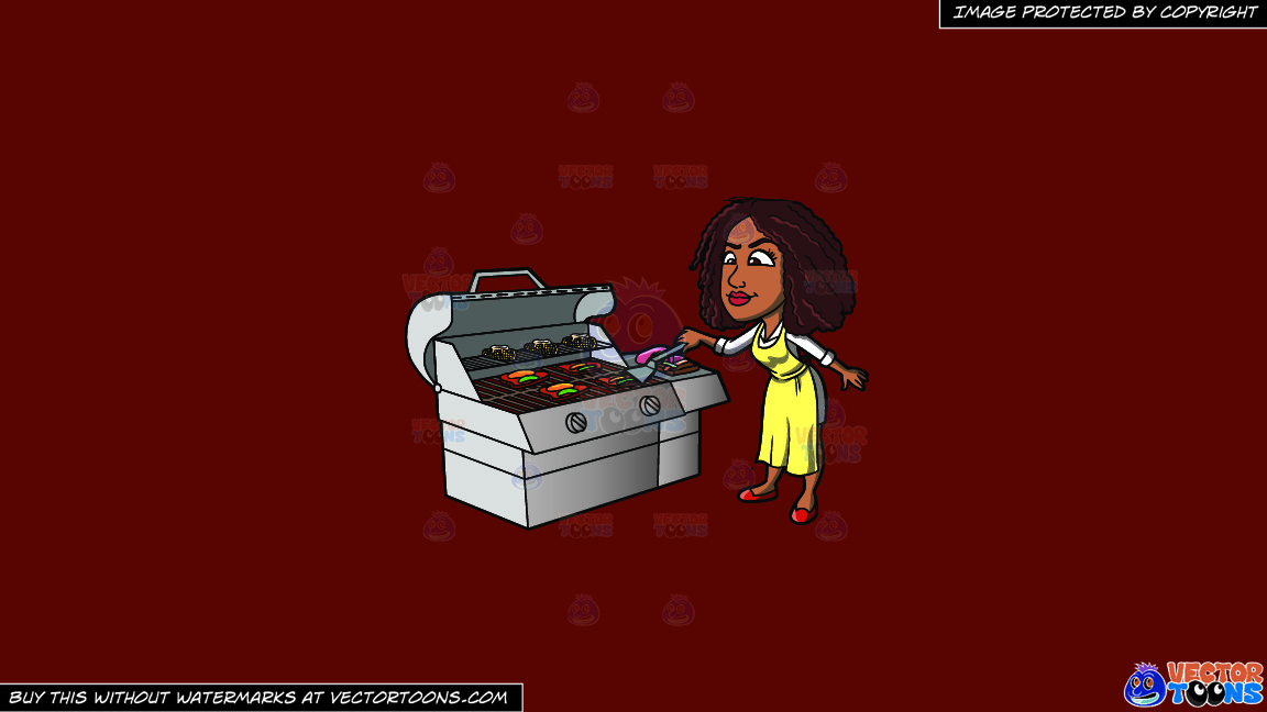 A Black Woman Grilling Steak And Vegetables On A Solid Maroon 69140e Background thumbnail