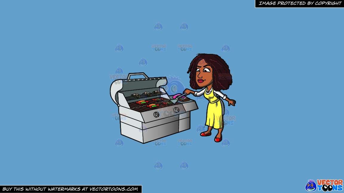 A Black Woman Grilling Steak And Vegetables On A Solid Shadow Blue 6c8ead Background thumbnail