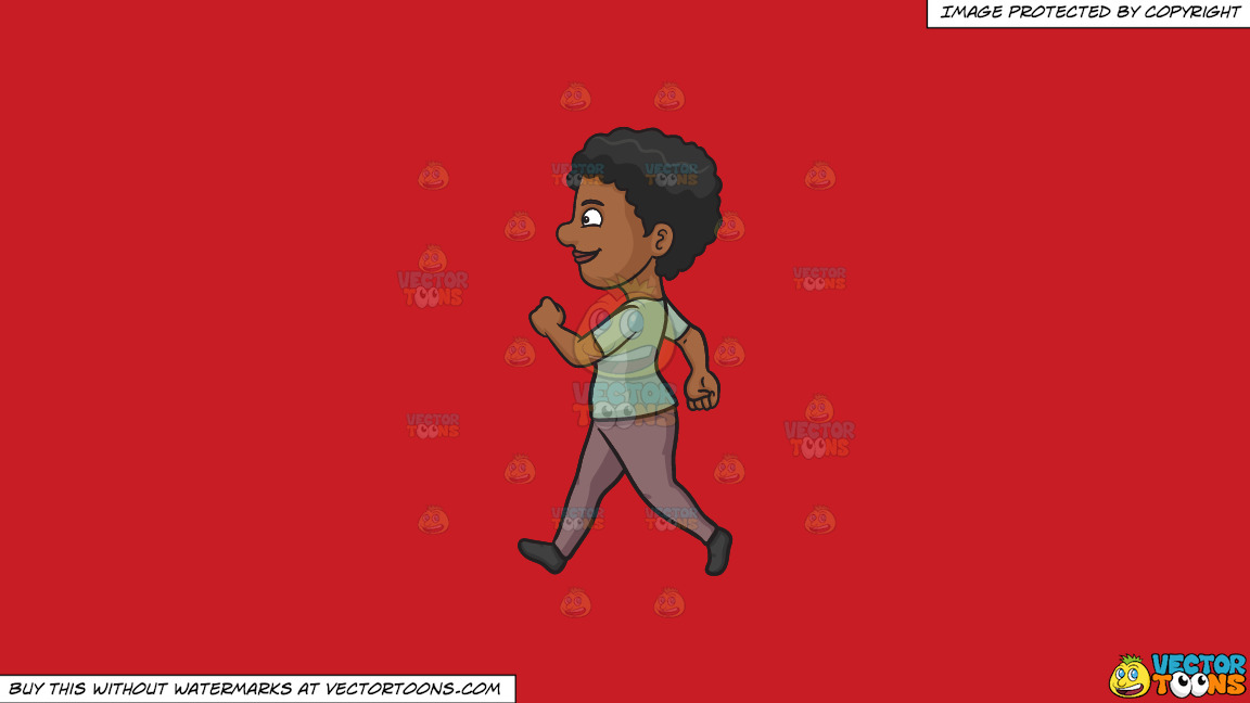 A Black Woman Looking Cheerful While Walking On A Solid Fire Engine Red C81d25 Background thumbnail