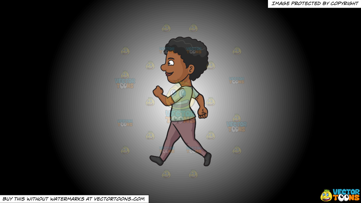A Black Woman Looking Cheerful While Walking On A White And Black Gradient Background thumbnail