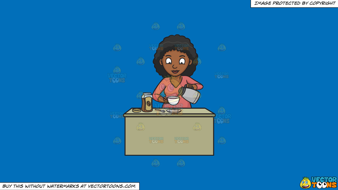 A Black Woman Preparing Instant Coffee On A Solid Spanish Blue 016fb9 Background thumbnail
