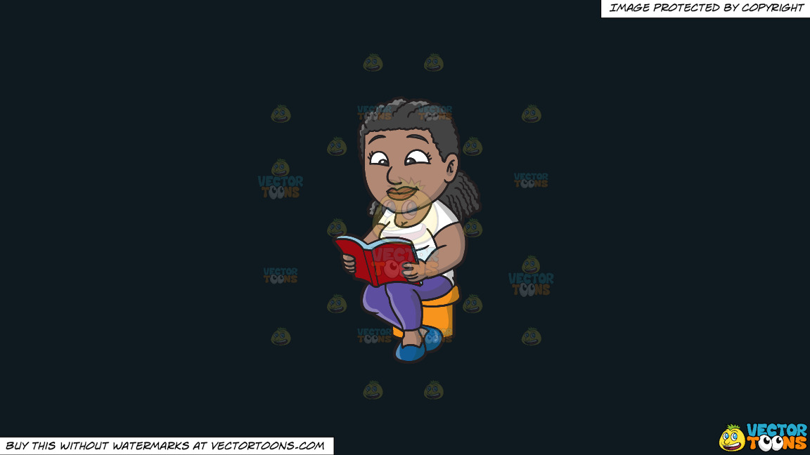 A Black Woman Reading Her Favorite Book On A Solid Off Black 0f1a20 Background thumbnail