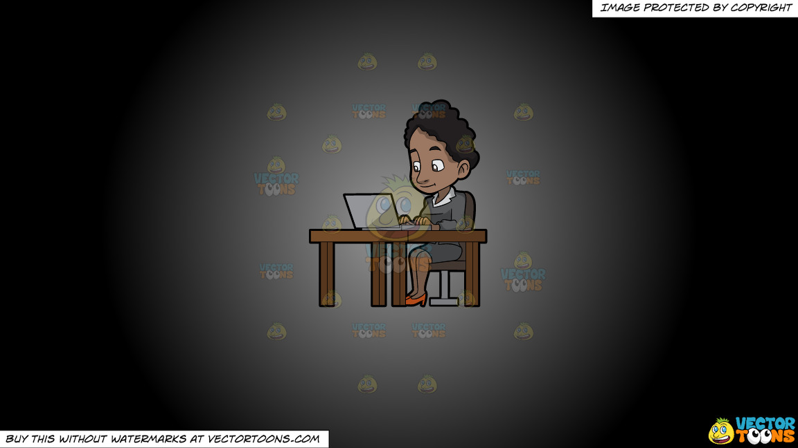 A Black Woman Sitting At Her Desk Using A Laptop Computer On A Grey And Black Gradient Background thumbnail