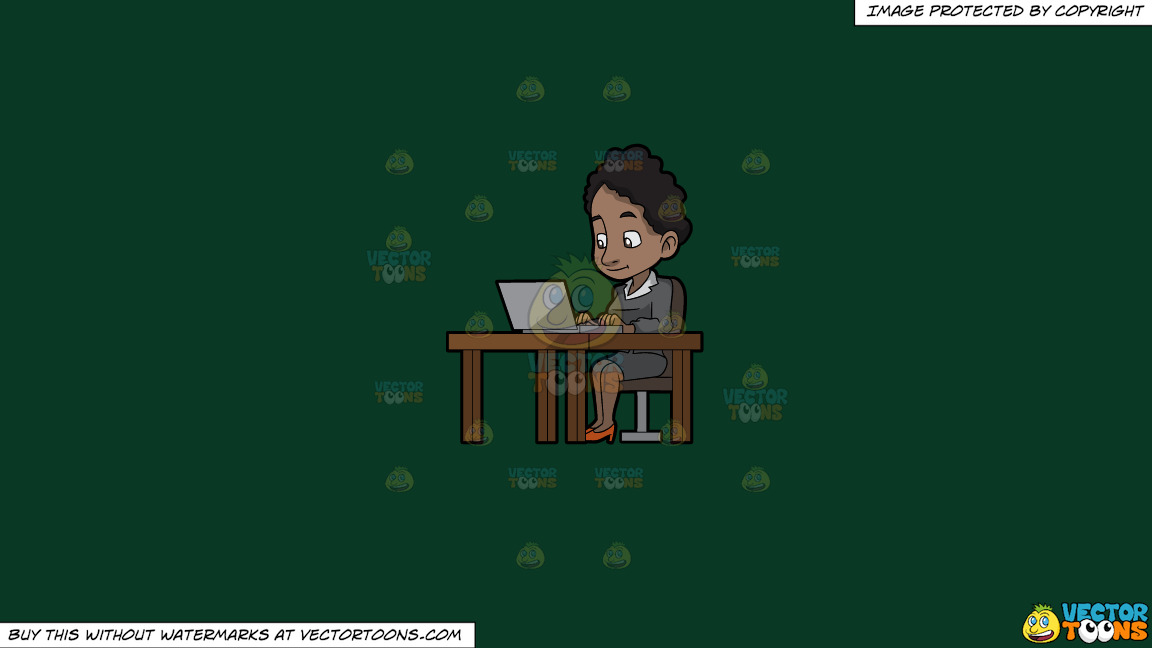 A Black Woman Sitting At Her Desk Using A Laptop Computer On A Solid Dark Green 093824 Background thumbnail