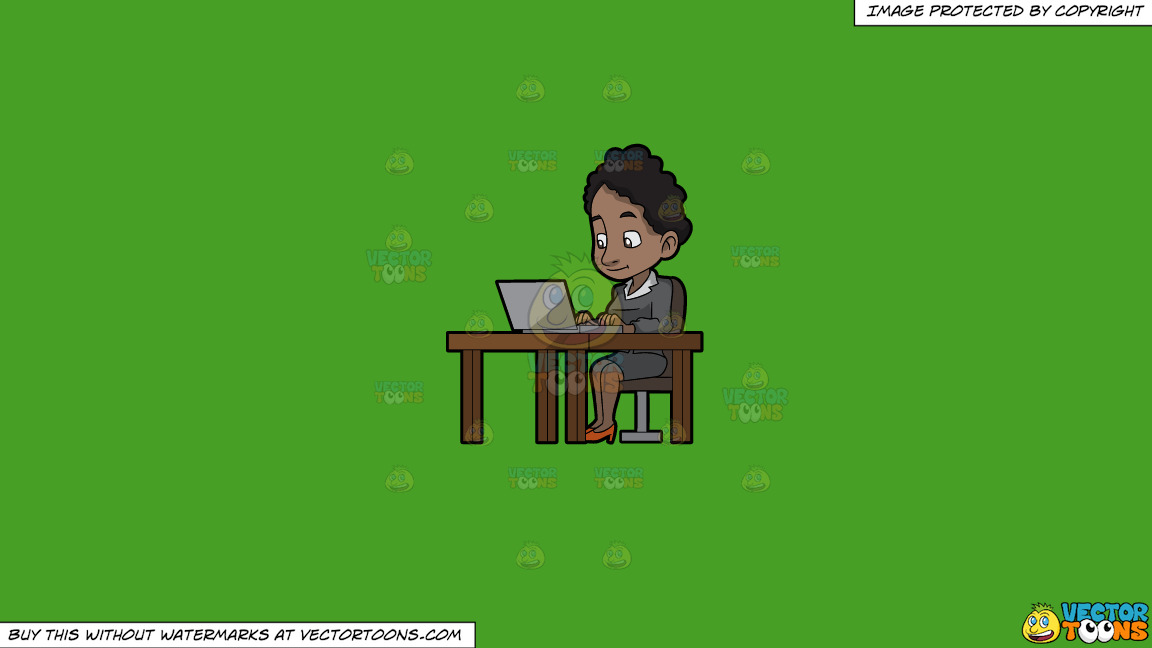 A Black Woman Sitting At Her Desk Using A Laptop Computer On A Solid Kelly Green 47a025 Background thumbnail