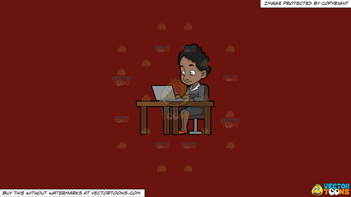 A Black Woman Sitting At Her Desk Using A Laptop Computer On A Solid Maroon 69140e Background thumbnail