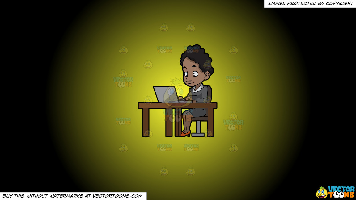 A Black Woman Sitting At Her Desk Using A Laptop Computer On A Yellow And Black Gradient Background thumbnail