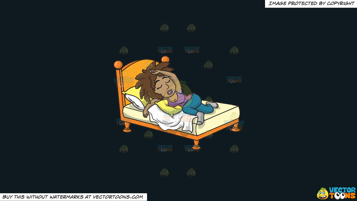 A Black Woman Sleeping Well On A Solid Off Black 0f1a20 Background thumbnail