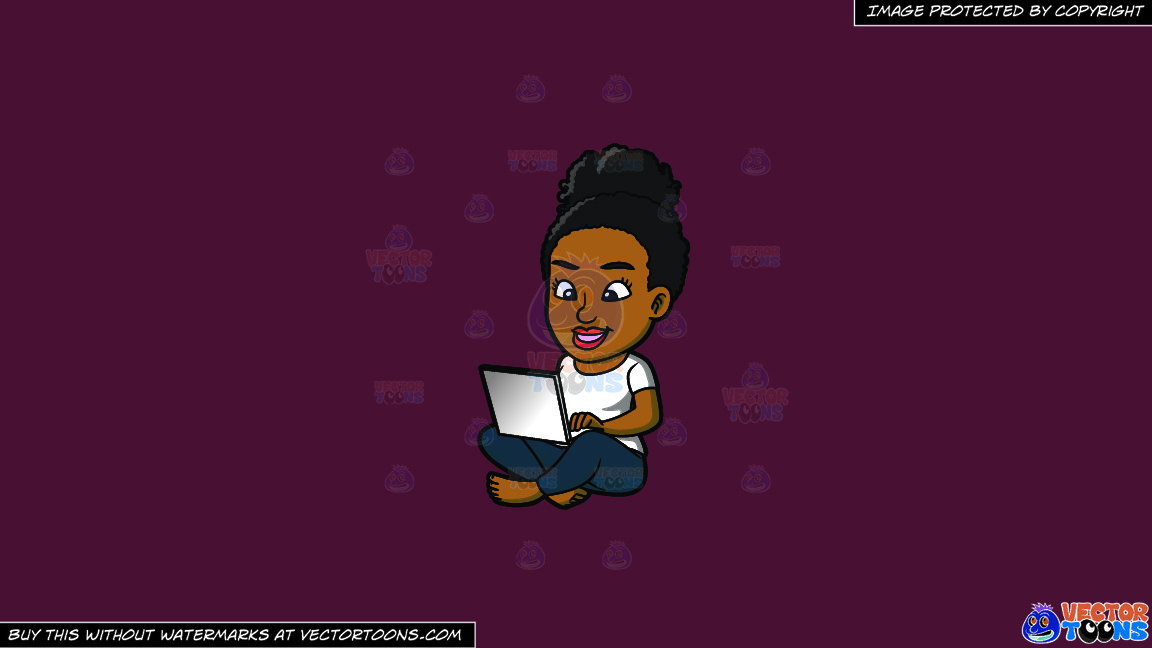 A Black Woman Using Her Laptop On A Solid Red Wine 5b2333 Background thumbnail