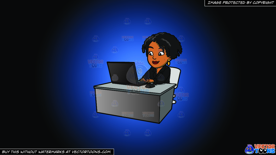 A Black Woman Using Her Office Laptop On A Blue And Black Gradient Background thumbnail