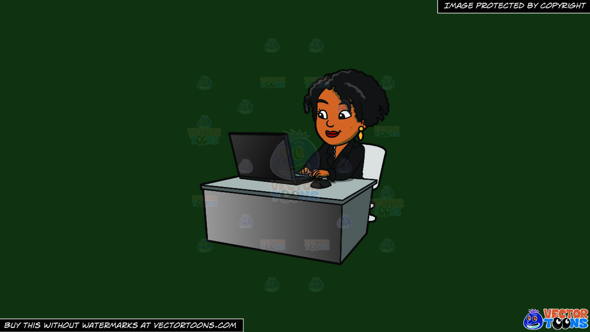 A Black Woman Using Her Office Laptop On A Solid Dark Green 093824 Background thumbnail