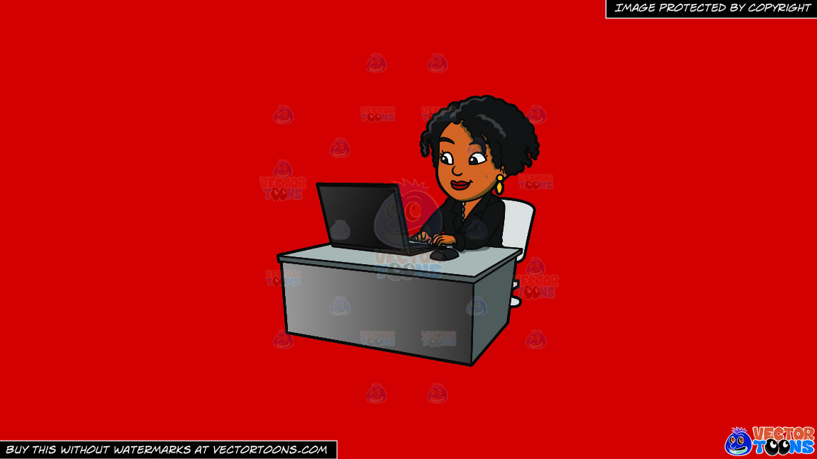A Black Woman Using Her Office Laptop On A Solid Fire Engine Red C81d25 Background thumbnail