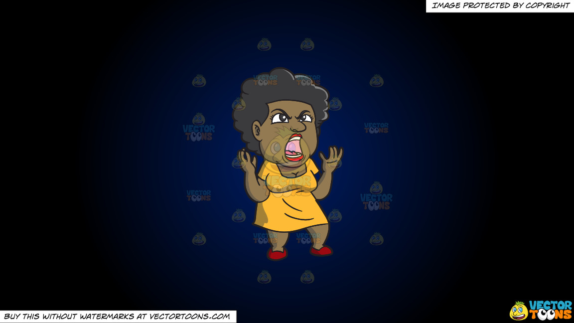 A Black Woman Yelling In Frustration On A Dark Blue And Black Gradient Background thumbnail