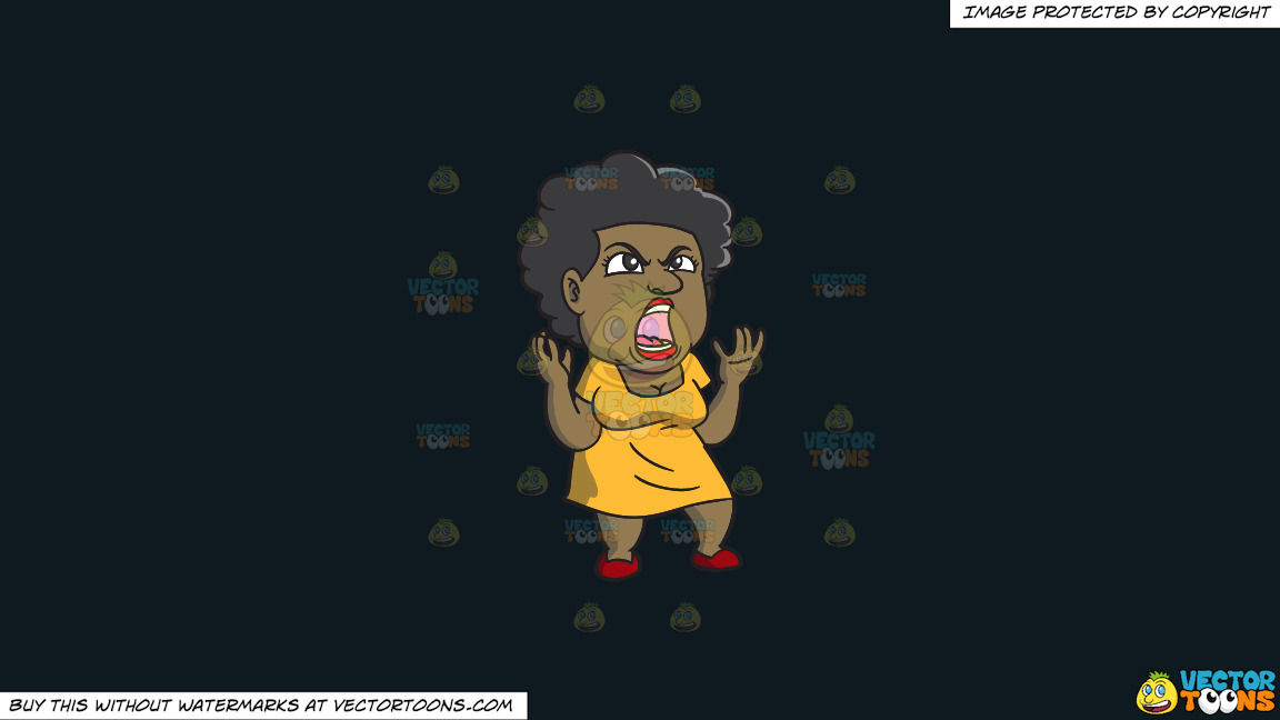 A Black Woman Yelling In Frustration On A Solid Off Black 0f1a20 Background thumbnail
