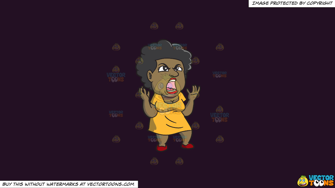 A Black Woman Yelling In Frustration On A Solid Purple Rasin 241023 Background thumbnail