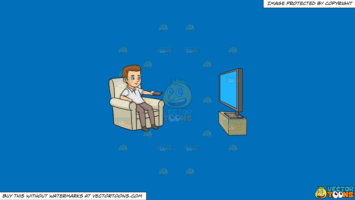 A Bored Man Channel Surfing On A Solid Spanish Blue 016fb9 Background thumbnail