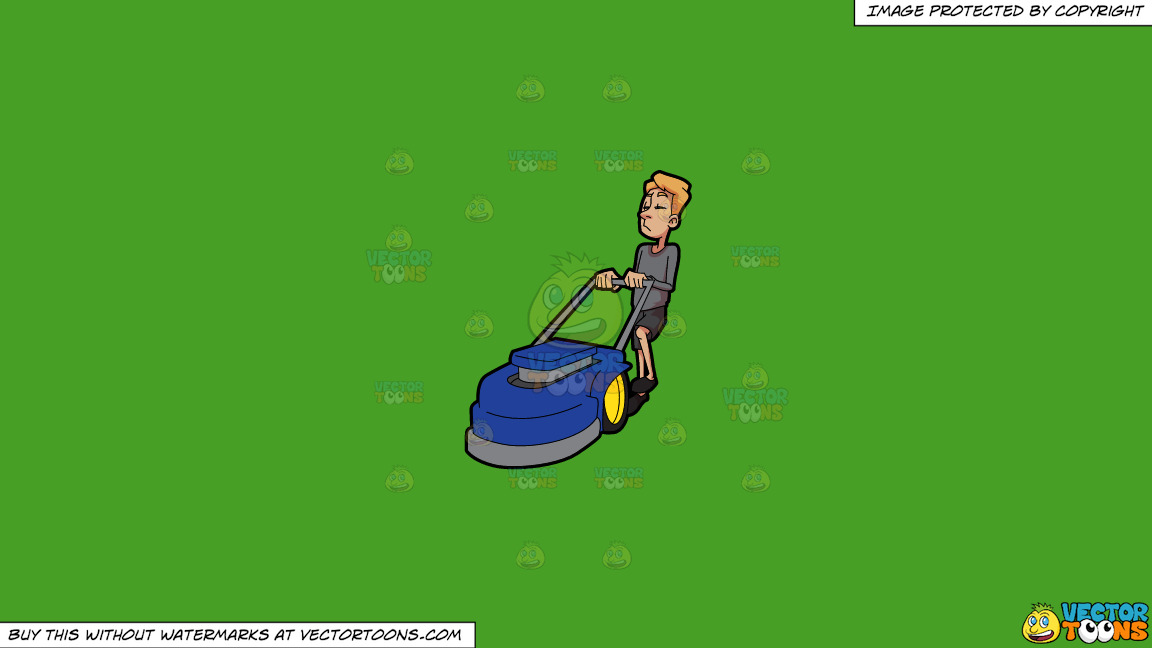 A Bored Man Holding On To A Lawnmower On A Solid Kelly Green 47a025 Background thumbnail