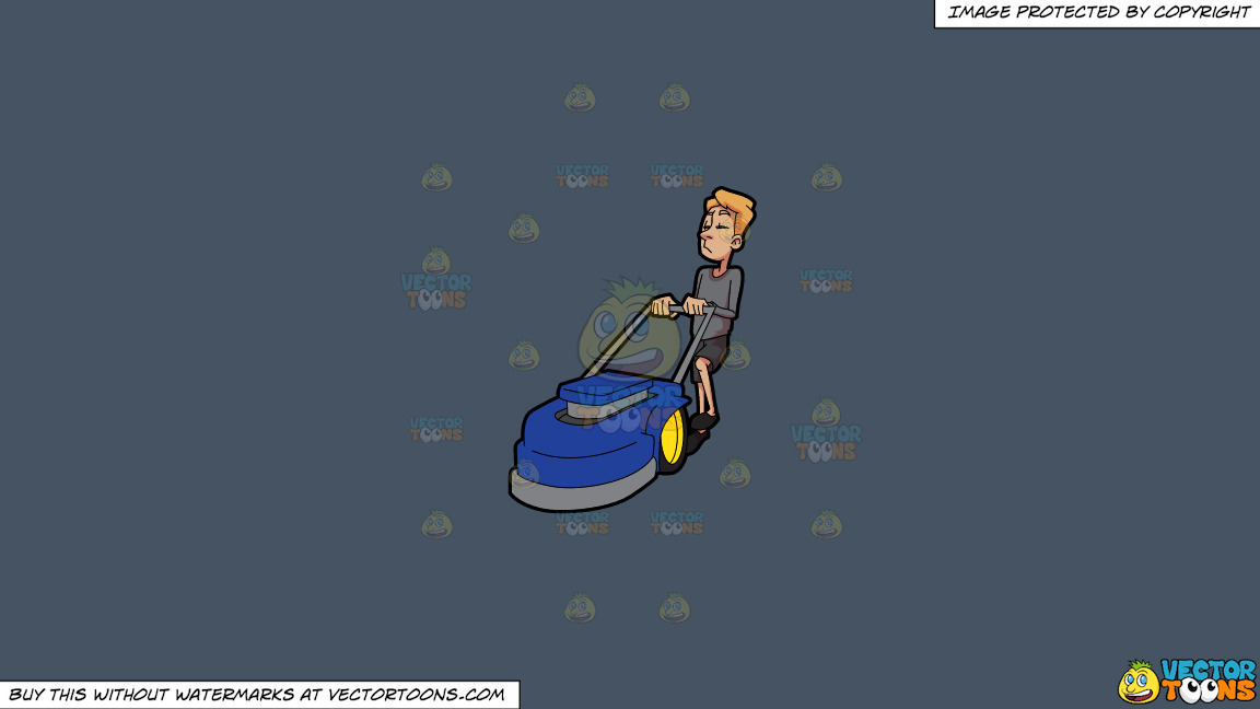A Bored Man Holding On To A Lawnmower On A Solid Metal Grey 465362 Background thumbnail