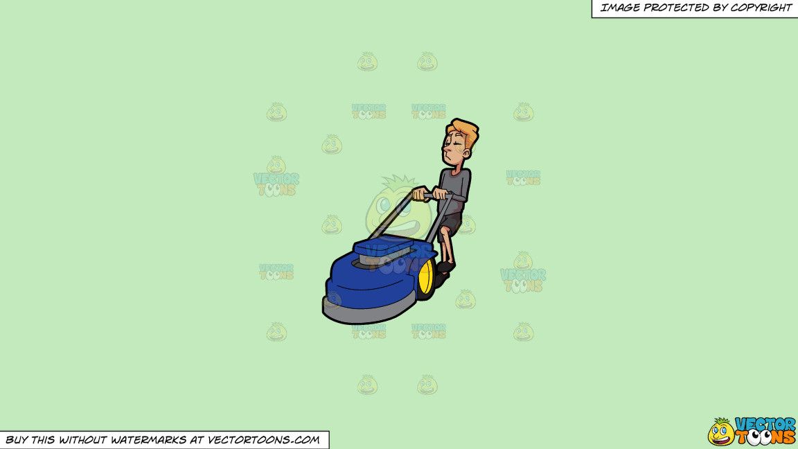 A Bored Man Holding On To A Lawnmower On A Solid Tea Green C2eabd Background thumbnail