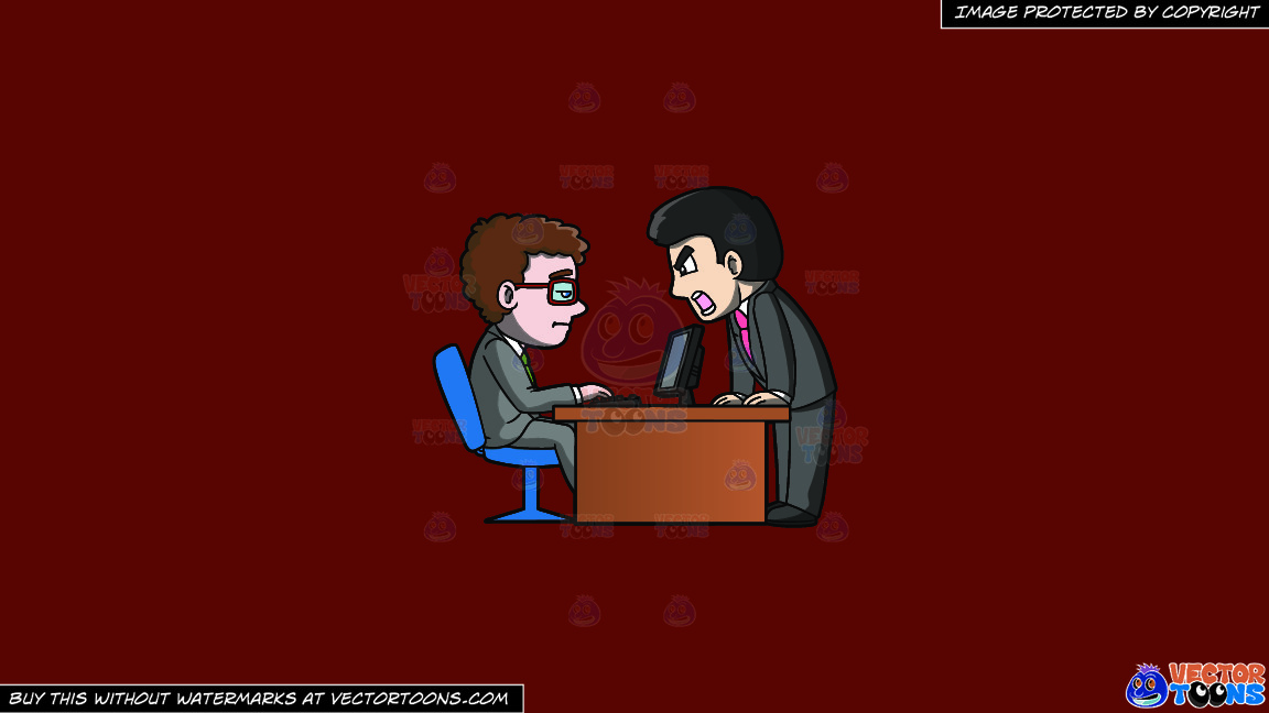 A Boss Getting Mad At His Subordinate On A Solid Maroon 69140e Background thumbnail