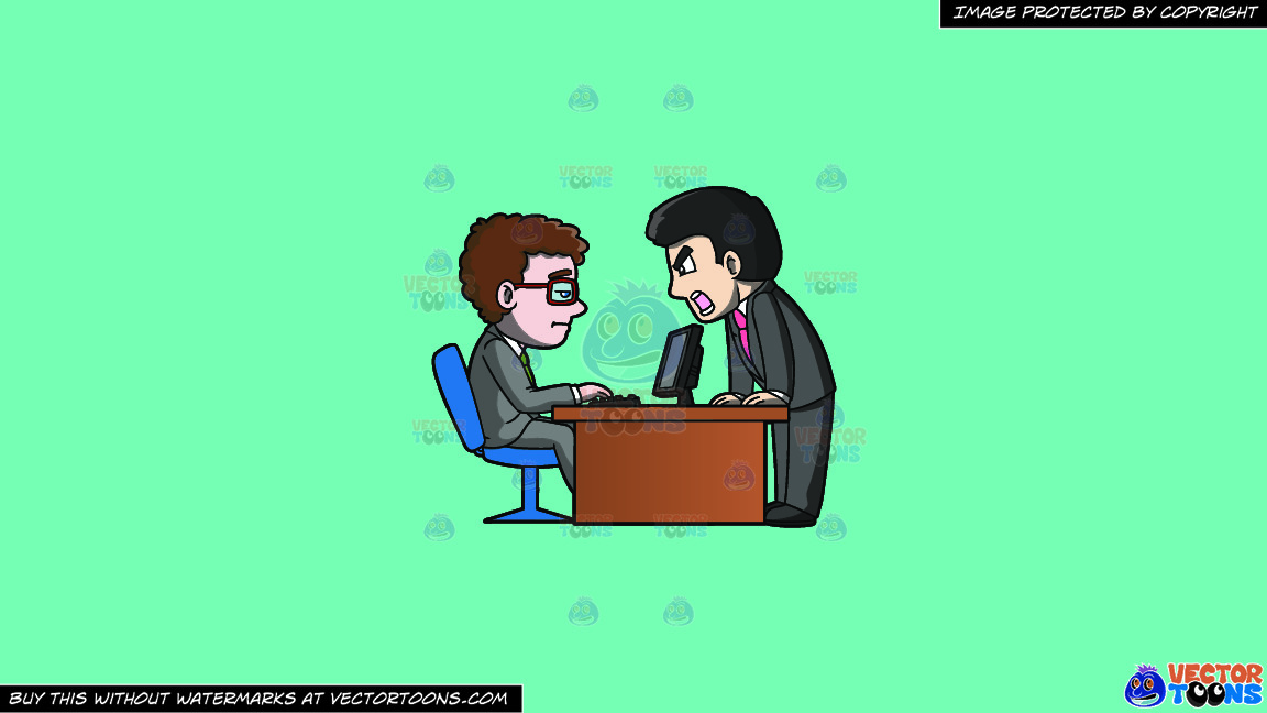 A Boss Getting Mad At His Subordinate On A Solid Turquiose 41ead4 Background thumbnail