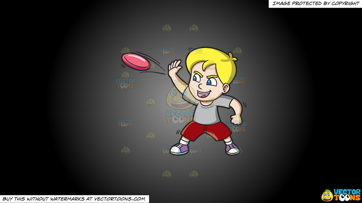 A Boy Aggressively Throws A Frisbee On A Grey And Black Gradient Background thumbnail