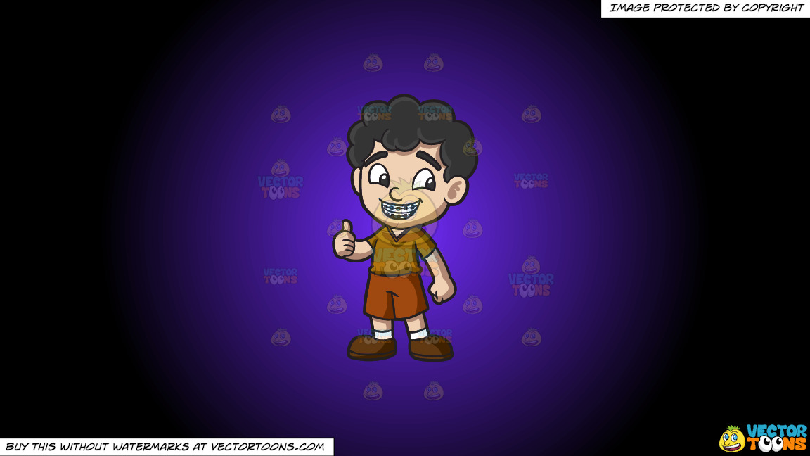 A Boy Approves His Braces On A Purple And Black Gradient Background thumbnail