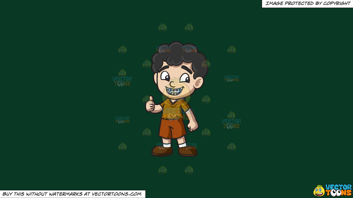 A Boy Approves His Braces On A Solid Dark Green 093824 Background thumbnail