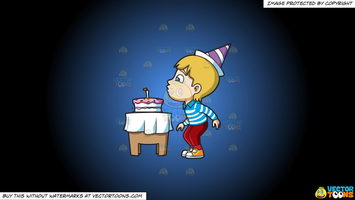 A Boy Blowing His Birthday Candle On A Blue And Black Gradient Background thumbnail