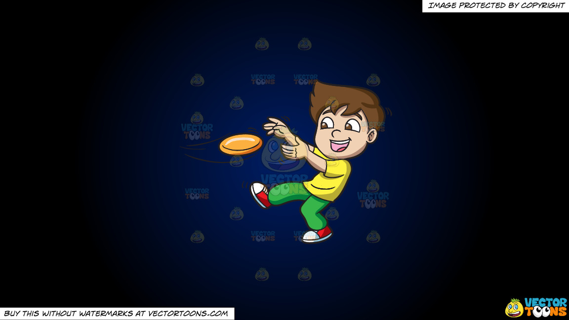 A Boy Catching A Flying Disc On A Dark Blue And Black Gradient Background thumbnail