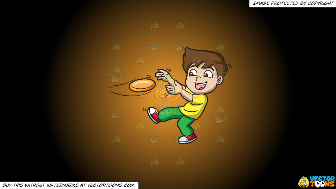 A Boy Catching A Flying Disc On A Orange And Black Gradient Background thumbnail