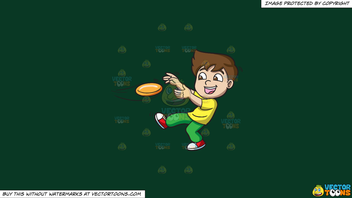 A Boy Catching A Flying Disc On A Solid Dark Green 093824 Background thumbnail