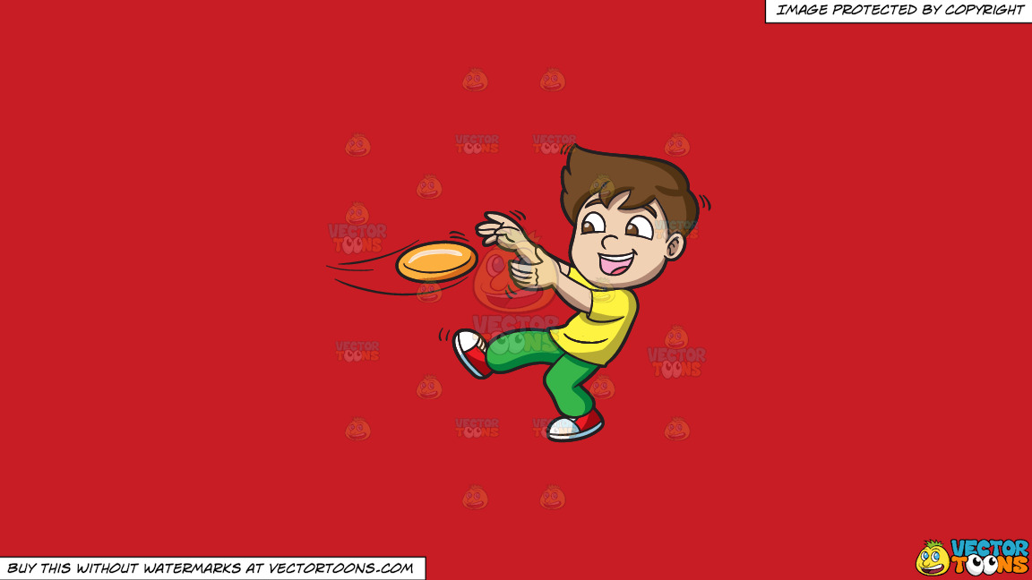 A Boy Catching A Flying Disc On A Solid Fire Engine Red C81d25 Background thumbnail