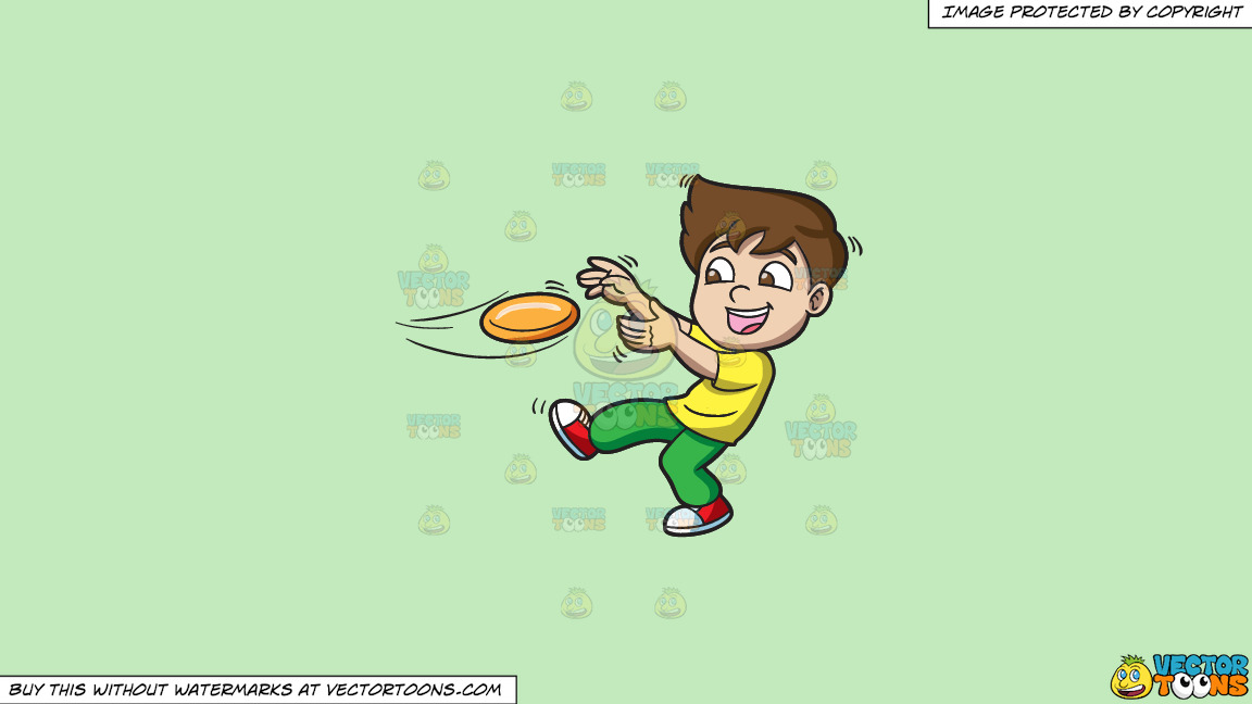A Boy Catching A Flying Disc On A Solid Tea Green C2eabd Background thumbnail