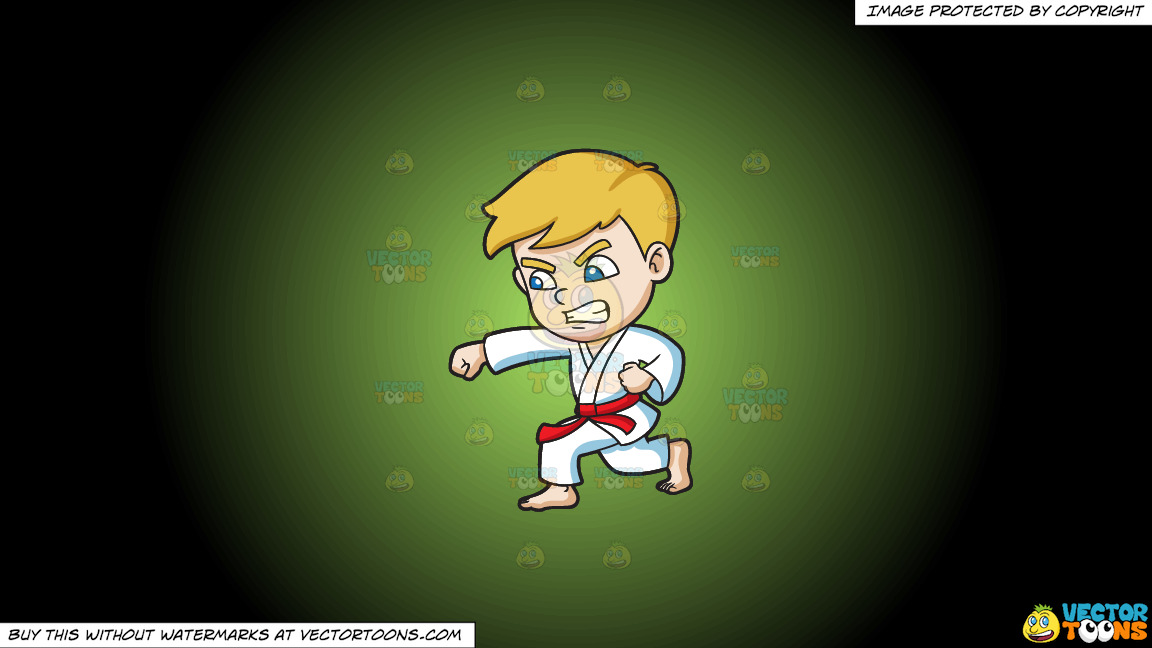 A Boy During A Taekwondo Training On A Green And Black Gradient Background thumbnail