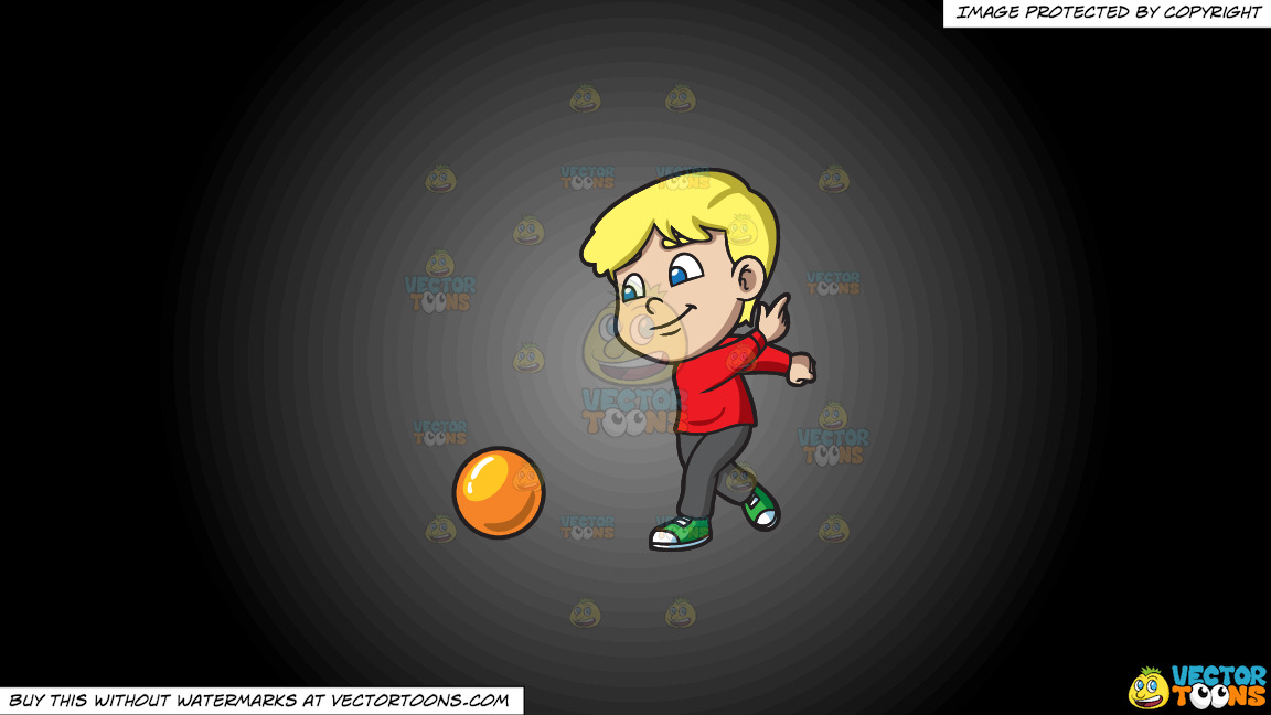 A Boy Enjoying The Game Of Bowling On A Grey And Black Gradient Background thumbnail