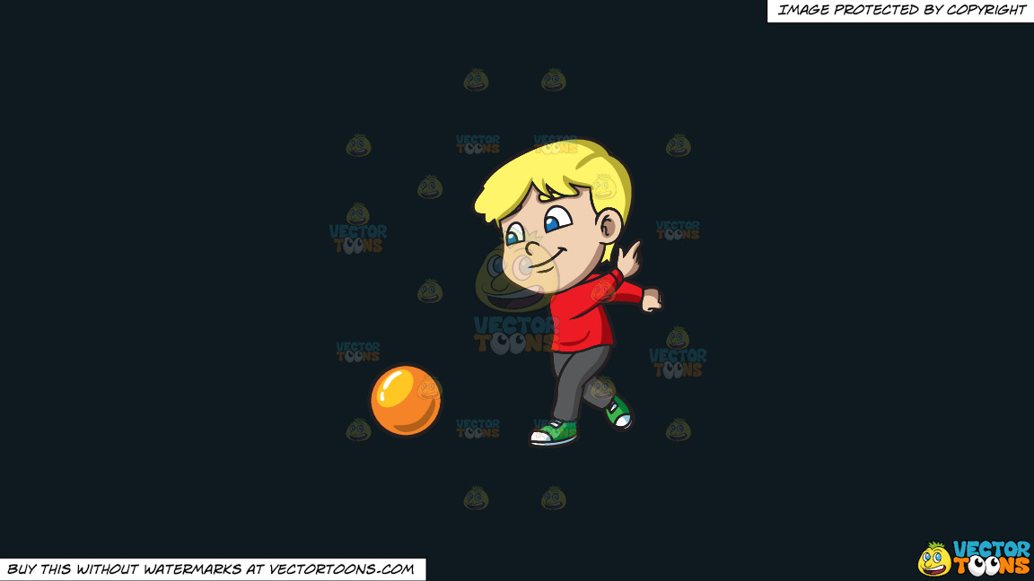 A Boy Enjoying The Game Of Bowling On A Solid Off Black 0f1a20 Background thumbnail
