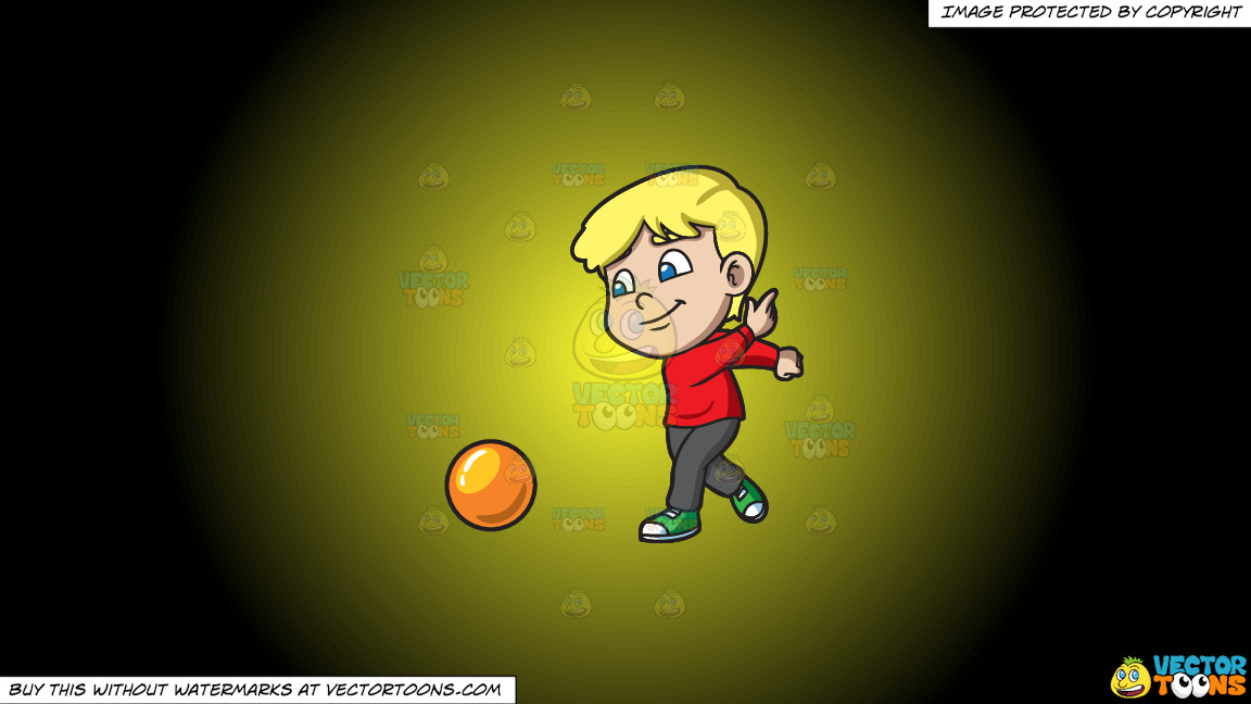A Boy Enjoying The Game Of Bowling On A Yellow And Black Gradient Background thumbnail