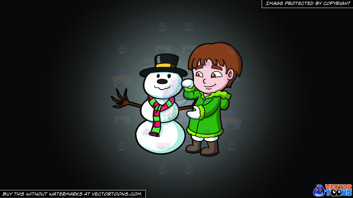 A Boy Fixing A Snowman On A Grey And Black Gradient Background thumbnail