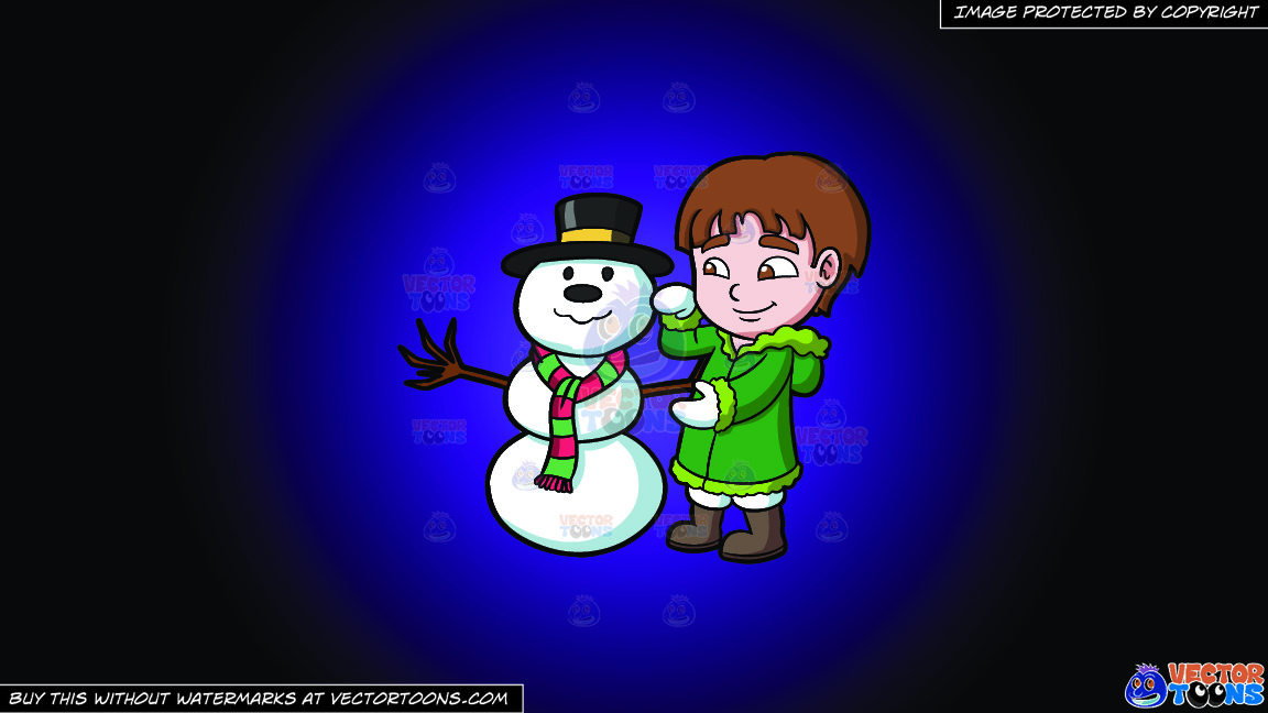 A Boy Fixing A Snowman On A Purple And Black Gradient Background thumbnail