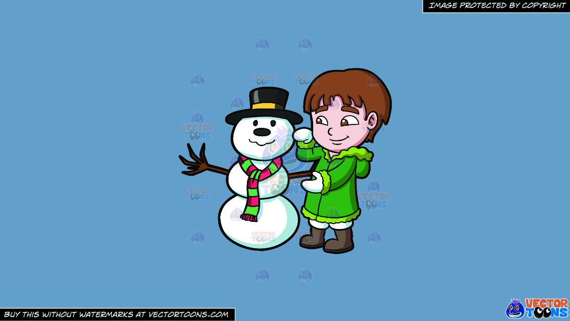 A Boy Fixing A Snowman On A Solid Shadow Blue 6c8ead Background thumbnail