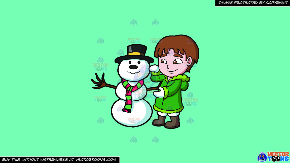 A Boy Fixing A Snowman On A Solid Turquiose 41ead4 Background thumbnail