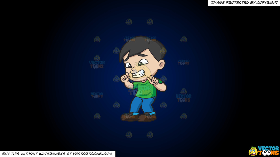 A Boy Flosses His Teeth On A Dark Blue And Black Gradient Background thumbnail