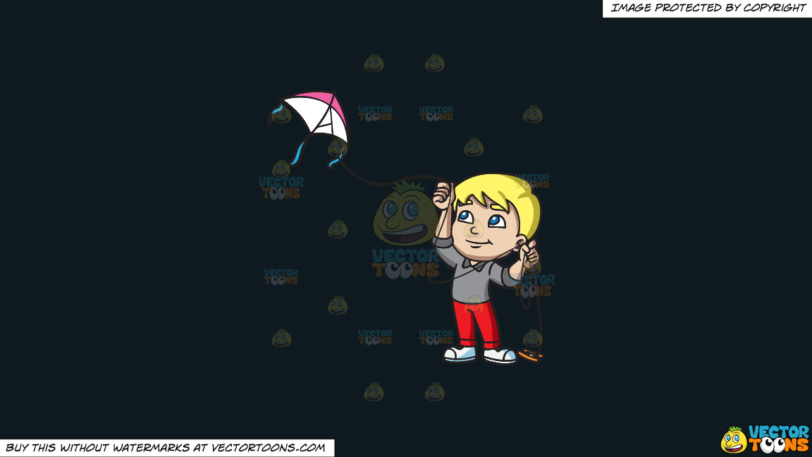 A Boy Flying A Pretty Kite On A Solid Off Black 0f1a20 Background thumbnail