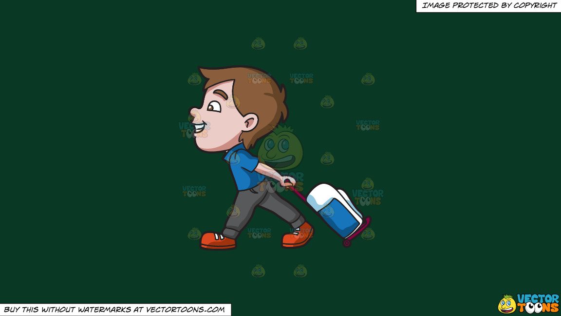 A Boy Happily Pulling His Luggage On A Solid Dark Green 093824 Background thumbnail