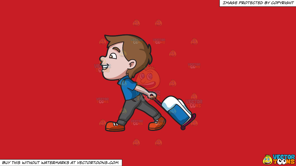 A Boy Happily Pulling His Luggage On A Solid Fire Engine Red C81d25 Background thumbnail