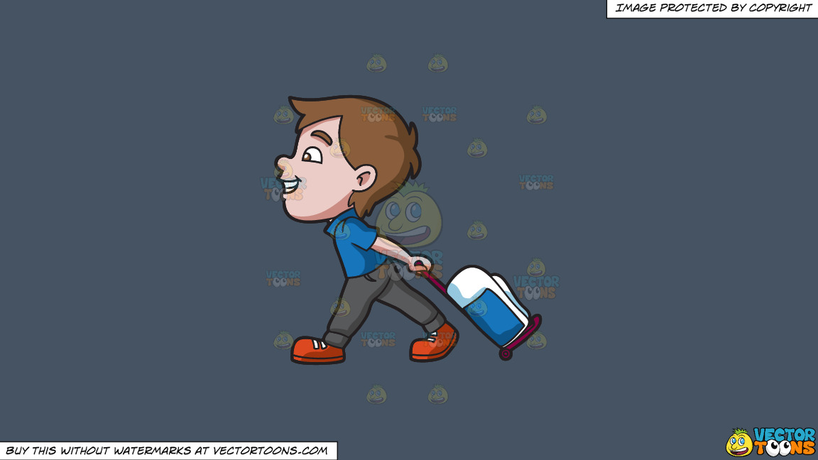 A Boy Happily Pulling His Luggage On A Solid Metal Grey 465362 Background thumbnail
