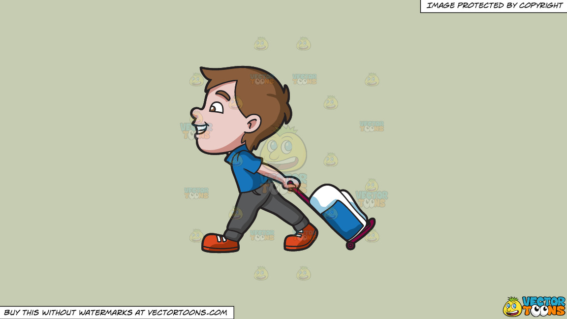 A Boy Happily Pulling His Luggage On A Solid Pale Silver C6ccb2 Background thumbnail