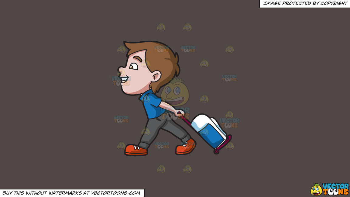 A Boy Happily Pulling His Luggage On A Solid Quartz 504746 Background thumbnail