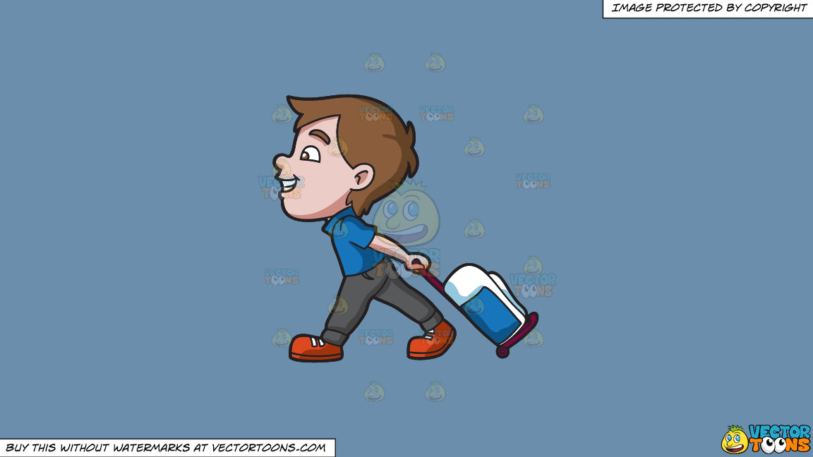 A Boy Happily Pulling His Luggage On A Solid Shadow Blue 6c8ead Background thumbnail